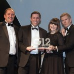 From left: Steve Halford, managing director, Zoom Conservatories, sponsor of the award; Andy Jones, managing director, Edgetech UK; Charlotte Davies, marketing coordinator, Edgetech UK; Patrick Kielty, UK TV celebrity and radio host, and G12 Host.