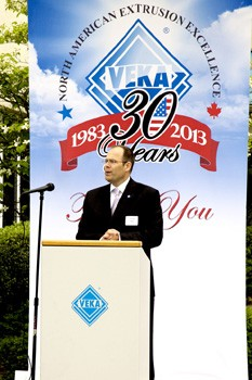 Joe Peilert, VEKA North America CEO, spoke at the company's 30th anniversary celebration.