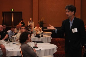 The keynote speaker Richard Farrell took a unique approach to talking sales.