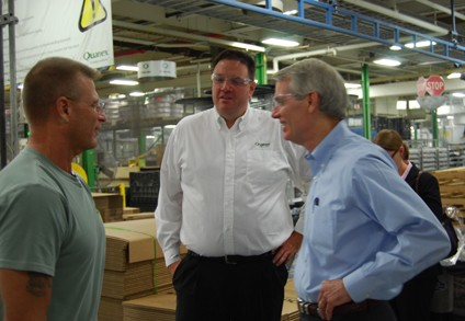 Sen. Rob Portman recently toured Quanex and met many of its employees. From left, James McDougall, team leader, Quanex Building Products; George Wilson, general manager, Quanex Building Products – IG Systems; Se. Rob Portman