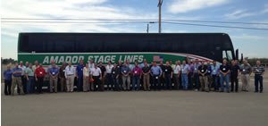 Move that bus: Members of the moulding industry toured five plants as part of the MMPA first annual event.