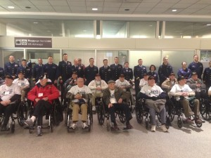 Pictured above, several of the veterans and Guardians arrive at the airport to begin their tour of the war memorials in Washington D.C.