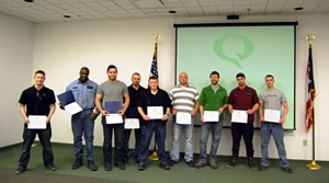 The following Quanex employees earned its Tech 2 certification through Zane State (left to right): Joe Florio, Sirius Underwood, Justin Rentsch, Aaron Downerd, John Whited, DJ Stillion, Cody Walsh, Ricky Ryan, Seth Tipton.