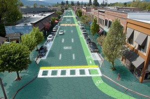 n artist's rendition of downtown Sandpoint, Idaho, where Scott and Julie Brusaw, founders of Solar Roadways, reside. (Graphic design by Sam Cornett, Solar Roadways)