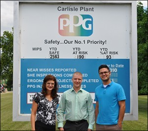 Here we are at PPG's float glass plant in Carlisle, Pa. L-R Tara Taffera, Nick St. Dennis, Casey Flores