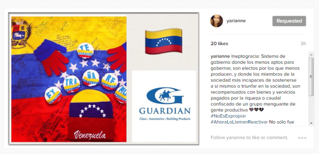 """An Instagram user in Venezuela posted this photo in support of Guardian de Venezuela. Here's what the caption says, according to Google Translate: """"Ineptocracy: a system of government where the least capable to lead are elected by the least capable of producing, and where the members of society least likely to sustain themselves or succeed, are rewarded with goods and services paid for by the confiscated wealth of a diminishing number of producers."""""""